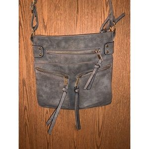 Gray over-the-shoulder purse
